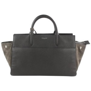 Saint Laurent Cabas Rive Gauche Anthracite Small 2way 16mz1019 Grey Leather Tote
