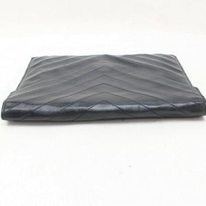 Saint Laurent Navy Blue Chevron Quilted Enevelop 869993 Black Leather Clutch