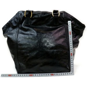 Saint Laurent Downtown 872000 Ysl Patent Leather Black Enamel Tote