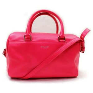 Saint Laurent Duffle Ysl Classic 12 Hour Boston with Strap 872863 Pink Leather Shoulder Bag