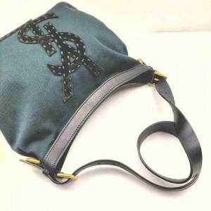 Saint Laurent Hobo Ysl Logo Seville 860061 Black Canvas Shoulder Bag