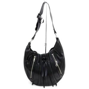 Saint Laurent Hobo Ysl Zip 872572 Black Leather Shoulder Bag