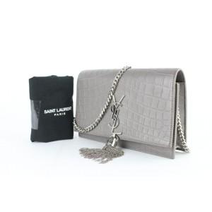 Saint Laurent Monogram Kate Croco Monogram Ysl Small Tassel Flap 9mz0123 Grey Leather Shoulder Bag
