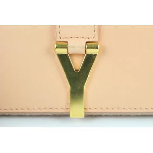 Saint Laurent Peach Blush Classic Y Ligne Zip-around Wallet 13me0109 Beige Leather Clutch