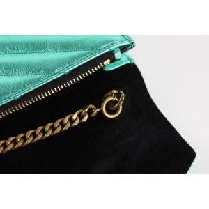Saint Laurent Metallic Green Chevron YSL Monogram Wallet on Chain Flap Bag 6YSL1216