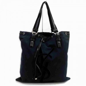 Saint Laurent Ysl Logo Kahala 872955 Black Canvas Tote