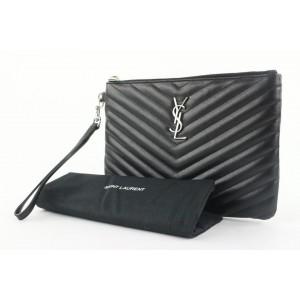 Saint Laurent YSL Black Calfskin Matelasse Chevron Monogram A5 Wristlet Bag 142ysl43