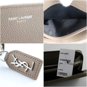 Saint Laurent Nude Taupe Pebbled Leather Rive Gauche Zip Around Wallet 118ysl428