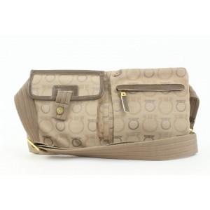 Salvatore Ferragamo Brown Gancini Logo Fanny Pack Belt Bag Waist Pouch 769sal331