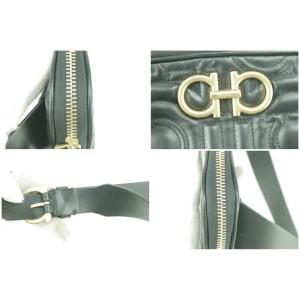 Salvatore Ferragamo Black Gancini Quilted Leather Belt Bag Fanny Pack Waist Pouch 11FK1230
