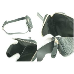 Salvatore Ferragamo Belt Gancini Quilted Fanny Pack Waist Pouch 11fk1230 Black Leather Cross Body Bag