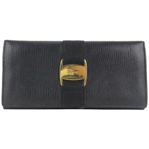 Salvatore Ferragamo Exotic Black Lizard Gancini Long Bifold Wallet 901fer413