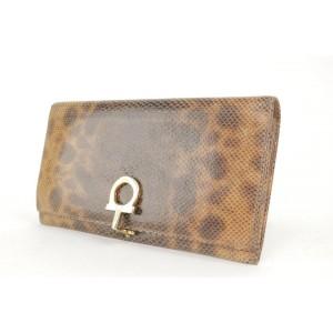 Salvatore Ferragamo Python Snakeskin Gancini Long Flap Wallet 22FK1203