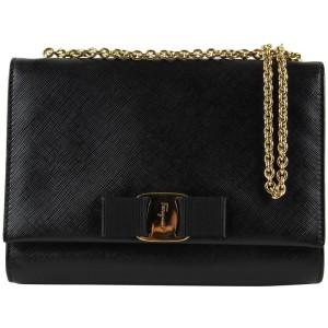 Salvatore Ferragamo Black Saffiano Leather Ginny Crossbody Chain Bag 17fg1223