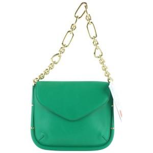 Salvatore Ferragamo Emerald Green Leather Gold Chain Flap 23MZ0