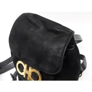 Salvatore Ferragamo Gancini Logo 237871 Black Suede Leather Backpack