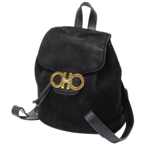 Salvatore Ferragamo Black Suede Gancini Logo Backpack 859871