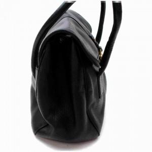 Salvatore Ferragamo Black Leather Gancini Satchel Flap Bowler 860416