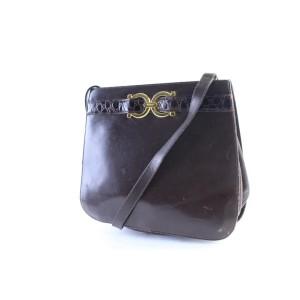 Salvatore Ferragamo Shoulder Gancini 26mr0701 Brown Leather Cross Body Bag
