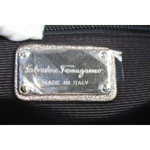 Salvatore Ferragamo Black Patent Braided Handle Hobo 40sal122