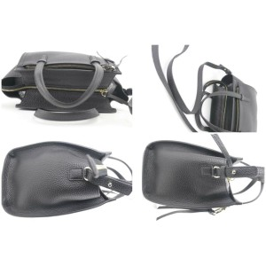 Salvatore Ferragamo Pebbled Mini Amy 2way 1sfk1127 Black Leather Tote