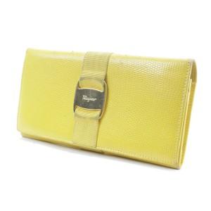 Salvatore Ferragamo Yellow Lizard Long Flap Bifold Wallet 11FKR0113