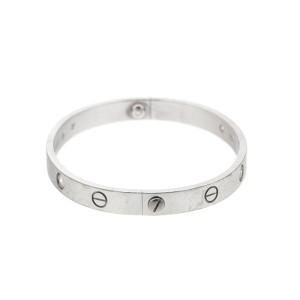 Cartier 18k White Gold Love Bracelet 4 Diamond size 17