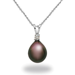 14k White Gold Natural Color Cultured Tahitian Pearl & Diamond Pendant Necklace