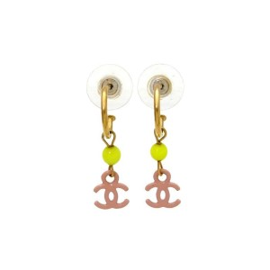 Chanel CC Logo Gold Tone Metal Pink Dangle Stud Earrings