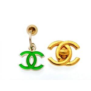 Chanel CC Logo Gold Tone Metal Green Dangle Stud Earrings