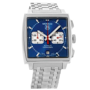 Tag Heuer Monaco CW2113 Stainless Steel Automatic Chronograph 38mm x 38mm Mens Watch