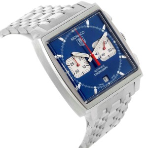 Tag Heuer Monaco CW2113 Stainless Steel Automatic 38mm Mens Watch