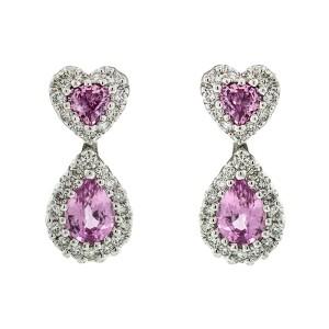 18k White Gold Diamond and Pink Sapphire Dangle Earrings