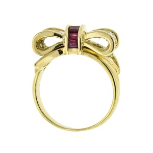 18k Yellow Gold Tiffany & Co. Diamond and Ruby Bow Set