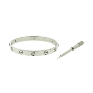 Cartier Love Bracelet 6 Diamond White Gold Size 16