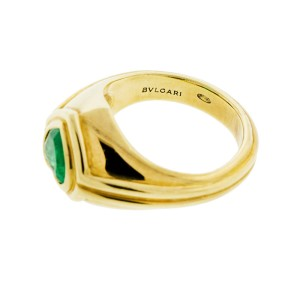 Bvlgari 18k Yellow Gold Heart Shaped Emerald Ring