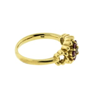 18k Yellow Gold Dior Ruby and Diamond Flower Ring