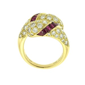 Piaget 18k Yellow Gold Diamond and Ruby Ring