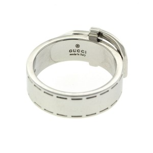 Gucci 18k White Gold Belt Ring