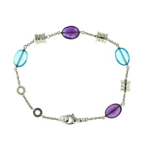 Bvlgari 18k White Gold and Color Stone B.zero Bracelet