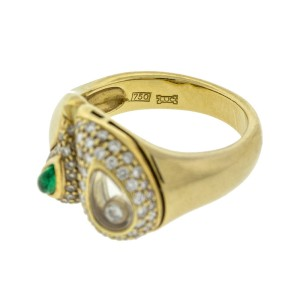 Chopard 18k Yellow Gold Emerald and Happy Diamond Ring
