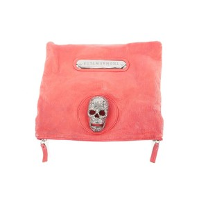Thomas Wylde Red Leather Skull Foldover Clutch Bag 384tw226
