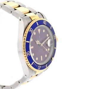 Rolex Two Tone Submariner Blue Dial Model #16803 Mens Watch