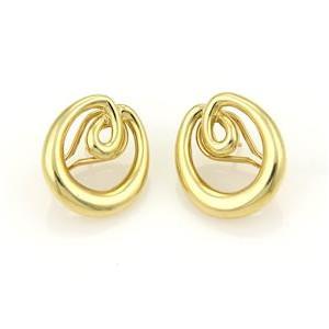 Tiffany & Co. Double Loop Open Oval 18k Yellow Gold Hoop Earrings