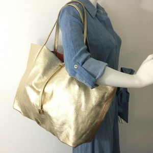 Tiffany & Co. Reversible With Pouch 860063 Gold Leather Tote