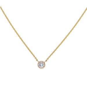 14K Yellow Gold Bezel Set Solitaire 0.47CT Diamond Pendant Necklace