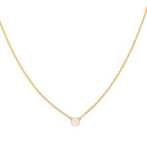 14K Yellow Gold Bezel Set Solitaire 0.19CT Diamond Pendant Necklace