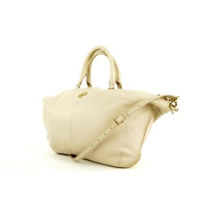 Tory Burch Large Beige Leather Convertible 2way Tote 571tor311