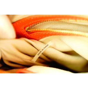 Tory Burch Orange Leather Logo Stripe Tote Bag with Strap 623tor316
