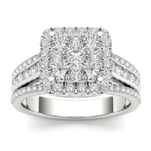 1 1/2ct TDW Diamond Cluster Engagement Ring in 10K
